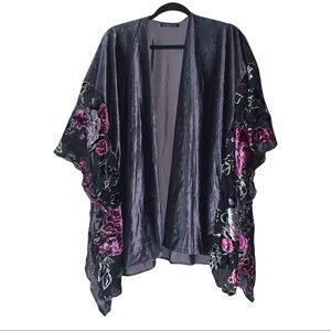 Floral crushed velvet kimono scarf wrap. One size